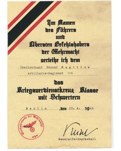 GERMAN WAR MERIT CROSS 2nd CLASS WITH SWORDS OBERLEUTNANT WERNER MAGIRIUS ARTILLERIE RGT 116 DOCUMENT