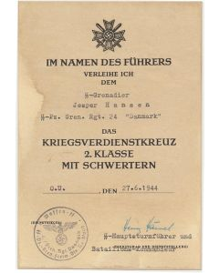 GERMAN WAR MERIT CROSS 2nd CLASS WITH SWORDS SS GRENADIER JESPER HANSEN SS PZ GREN RGT 24 DANMARK DOCUMENT