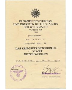 GERMAN WAR MERIT CROSS 2nd CLASS WITH SWORDS SS STURMMANN RUDI WOLFF 2./SS FLAK ABT 16 DIVISION RFSS DOCUMENT
