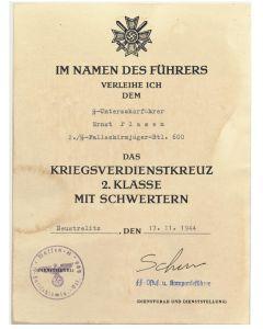 GERMAN WAR MERIT CROSS 2nd CLASS WITH SWORDS SS UNTERSCHARFUHRER ERNST PLASEN 2./SS FALLSCHIRMJAGER BTL 600 DOCUMENT