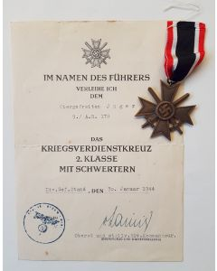 GERMAN WAR MERIT CROSS 2ND CLASS WITH SWORDS WITH AWARD DOCUMENT TO OBERGEFREITEN JAGER