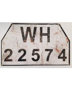 GERMAN WH 22574 ANTIQUE FINISH VEHICLE LICENCE PLATE