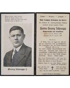 GERMAN WW11 SS DEATH CARD FOR GEORG SCHNAPP ORIGINAL