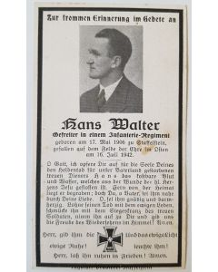 GERMAN WW11 SS DEATH CARD FOR HANS WALTER