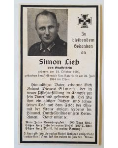 GERMAN WW11 SS DEATH CARD FOR SIMON LIEB