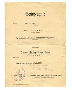 GERMAN WW2 AWARD DOCUMENT FOR PANZER ASSAULT BADGE IN BRONZE
