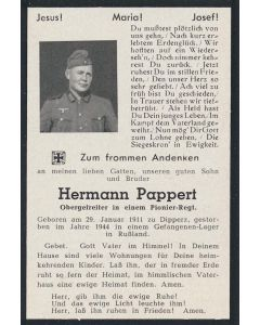 "GERMAN WW2 DEATH CARD FOR "" HERMANN PAPPERT"""