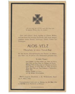 "GERMAN WW2 DEATH NOTICE FOR "" ALOIS VELZ"""