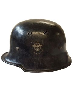 GERMAN WW2 M34 DOUBLE DECAL SQUARE DIP CIVIC POLICE HELMET