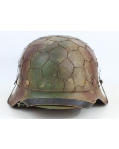 GERMAN WW2 M42 HELMET WITH SINGLE SS DECAL AND 1/2 BASKET CHICKEN WIRE COVER