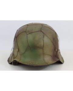 GERMAN WW2 M42 HELMET WITH SINGLE SS DECAL AND FULL CHICKEN WIRE COVER