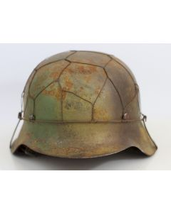 GERMAN WW2 M42 NORMANDY CAMO HELMET WITH SINGLE HEER DECAL AND half  BASKET CHICKEN WIRE COVER