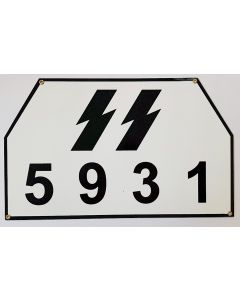 GERMAN WW2 SS BIG VEHICLE OR TRUCK LICENCE PLATE