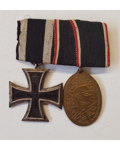 GERMAN WWI 1914 IRON CROSS 2ND CLASS AND WAR VETERANS MEDAL 1914-1918 OF THE KYFFHAUSER UNION BAR