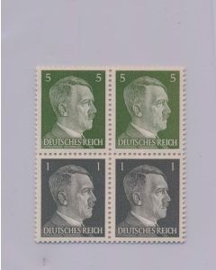 GERMAN WWII HITLER HEAD STAMP OF 4 STAMPS - 2 STAMPS OF 1 RPF VALUE AND 2 STAMPS OF 5 RPF VALUE