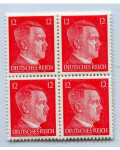 GERMAN WWII HITLER HEAD STAMP OF 4 STAMPS 12 RPF VALUE.