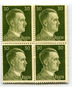 GERMAN WWII HITLER HEAD STAMP OF 4 STAMPS 30 RPF VALUE