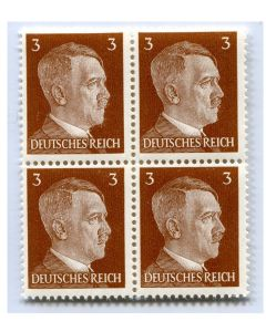 GERMAN WWII HITLER HEAD STAMP OF 4 STAMPS 3 RPF VALUE