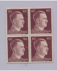 GERMAN WWII HITLER HEAD STAMP OF 4 STAMPS 60 RPF VALUE