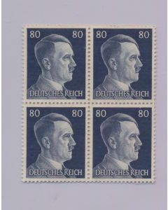 GERMAN WWII HITLER HEAD STAMP OF 4 STAMPS 80 RPF VALUE