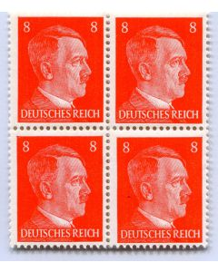 GERMAN WWII HITLER HEAD STAMP OF 4 STAMPS 8 RPF VALUE