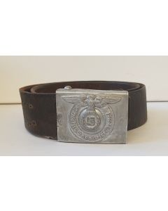 GERMAN WW2 ALUMINUM SS EM BUCKLE AND BELT MARKED RZM 36/40 SS
