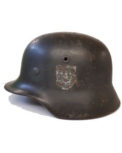 GERMAN M40 ORIGINAL 64 SHELL STEEL HELMET with 57 Liner