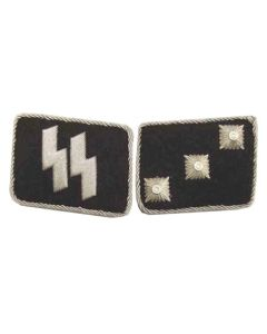 ww2GERMAN SS-UNTERSTURMFUHRER (2nd Lieutenant) OFFICER COLLAR TABS