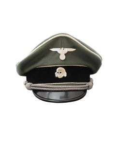 WAFFEN SS INFANTRY OFFICER VISOR CAP GREY GABARDINE