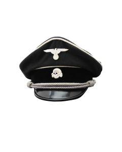 ALLGEMEINE SS OFFICER BLACK GARBADINE VIS0R CAP