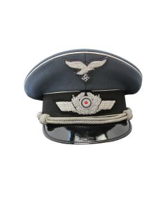 GERMAN WW2 LUFTWAFFE OFFICER'S VISOR CAP WITH SILVER PIPING