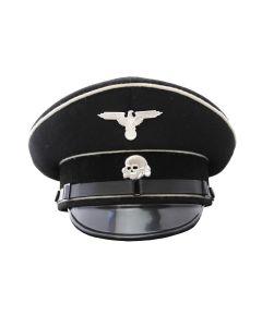 WW2 GERMAN SS ALLGEMEINE BLACK VISOR CAP - EM INFANTRY
