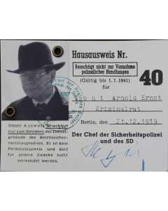 "STURMBANNFUHRER ARNOLD ERNST TOHT  ID CARD ACCESS PASS FROM INDIANA JONES ""RAIDERS OF THE LOST ARK"""