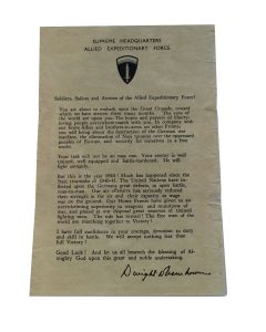 D-DAY NORMANDY LANDING LETTER FROM GENERAL DWIGHT  EISENHOWER