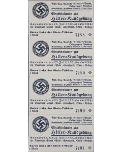 4 TICKETS TO AN ADOLF HITLER RALLY IN DRESDEN ON JULY 23, 1932  - REPRODUCTION