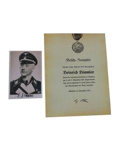 Himmler - Blood Order Certificate + Photo