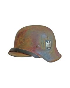 GERMAN WW2 M42 NORMANDY CAMO HELMET WITH SINGLE HEER DECAL AND 1/2 BASKET CHICKEN WIRE COVER