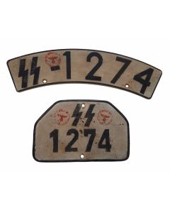 WW2 GERMAN WAFFEN SS MOTORCYCLE LICENCE PLATE SET