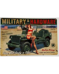 MILITARY HARDWARE METAL SIGN