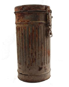 ORIGINAL WW2 GERMAN CAMOUFLAGE RELIC GAS MASK CANISTER