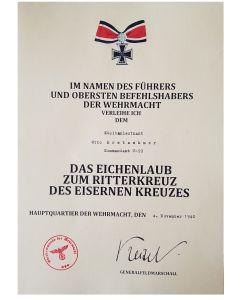 OAKLEAF FOR KNIGHT CROSS KAPITANLEUTNANT OTTOVKRETSCHMER KOMMANDANT U-99