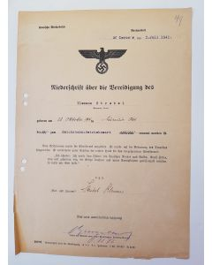 OATH OF LOYALTY TO HITLER - DOCUMENT DATED 3. JULI 1941