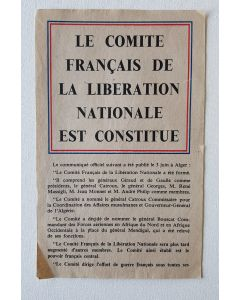 OFFICIAL COMMUNIQUE FROM GENERAL DE GAULLE ON JUNE 3rd REGARDING THE FRENCH NATIONAL LIBERATION COMMITTE