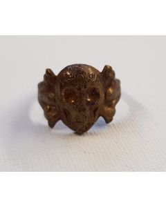 GERMAN WWII WEHRMACHT CANTEEN GOLD SKULL RING