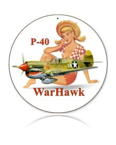 P-40 WARHAWK METAL SIGN