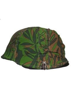 GERMAN SS M35 BLACK HELMET AND GERMAN WAFFEN SS PALM CAMO HELMET COVER