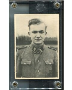 PHOTO OF SS ROTTENFUHRER CORPORAL WITH M43 UNIFORM AND INFANTRY ASSAULT BADGE