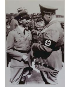 UNSERE WAFFEN SS POSTCARD - HERMAN GORING AND JOSEPH GOEBBELS IMAGE