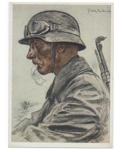 Portrait of Kradmelder postcard by Wolf Willrich