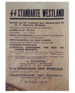 RECRUIT POSTER SS UNTERSCHARFUHRER PETER BURTEN 1./ERSATZ BTL SS WESTLAND DOCUMENT